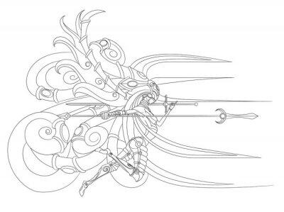 latania na skrzydłach Walkirii z włócznią i mieczem