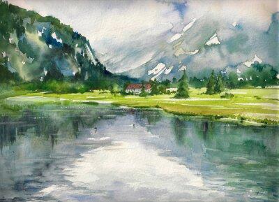 Plakat Latem krajobraz z górskie jezioro malowane akwarelami