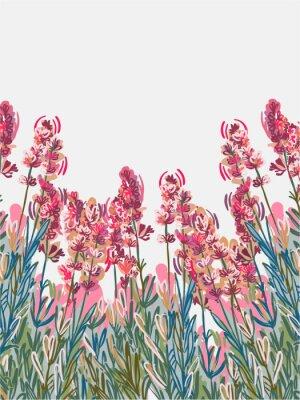Plakat lavender vecor background pink flower card colorful