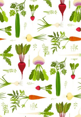 Plakat Leafy Vegetables and Greens Seamless Pattern Background