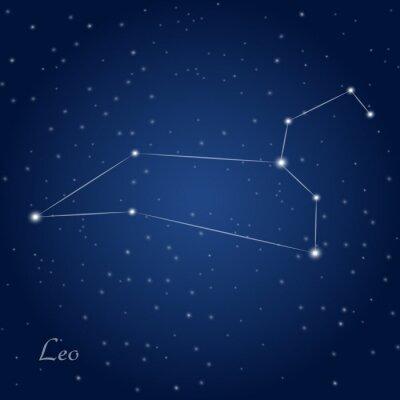 Plakat Leo gwiazdozbiór zodiakalny na rozgwieżdżone niebo