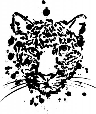 Plakat leopard black, brush strokes spray paints, leopard head face, African animal