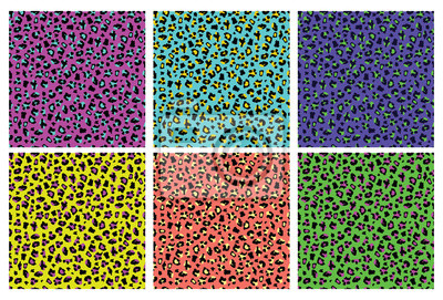 Plakat Leopard print seamless pattern set - exotic abstract wil animal fur background collection for textile print design
