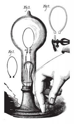 Plakat Lightbulb, vintage illustration