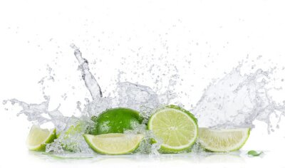 Plakat Limes with water splash