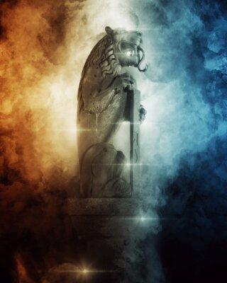 Plakat Lion Head Statue between dark wave painting