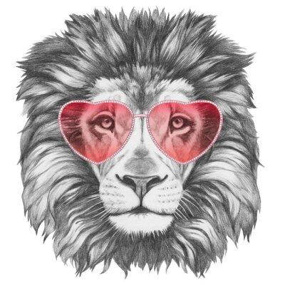 Plakat Lion in Love! Portret lwa z okulary w kształcie serca. Ręcznie rysowane ilustracji.