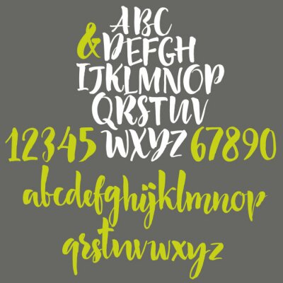 Plakat Litery alfabetu: małe litery, duże litery i cyfry.