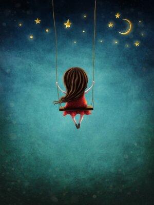 Plakat Little fairy girl swingig