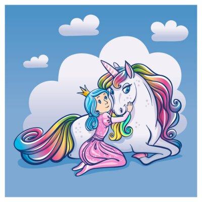 Plakat Little Princess Girl i Cute Unicorn, ilustracji wektorowych