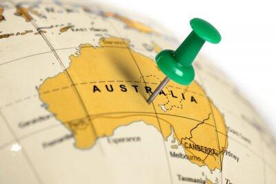 Plakat Location Australia. Green pin on the map.