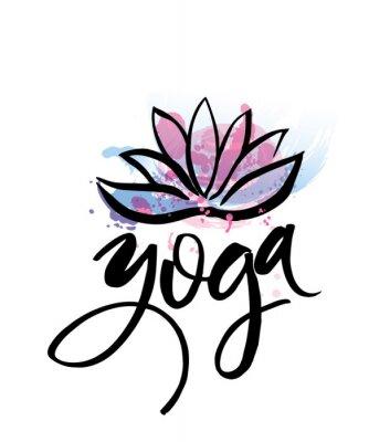 Plakat Logo jogi studio lub klasy medytacji. Spa logo Elementów akwareli. koncepcja medytacja. LOTOS sylwetki. ilustracji wektorowych dla t-shirt druku