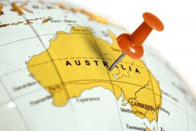 Plakat Lokalizacja Australia. Czerwony pin na mapie.