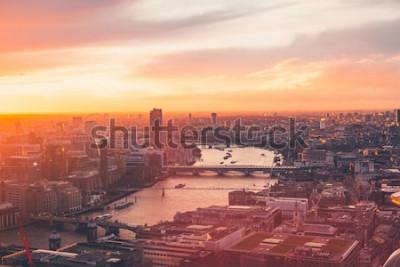 Plakat London Skyline - Thames - Sunset - Summer - Sky Garden - Orange