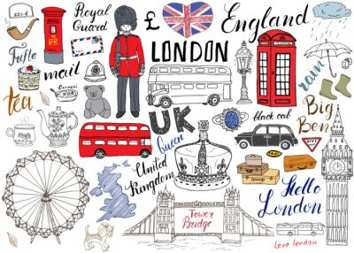 Plakat Londyn elementy doodles miejskie kolekcji. Ręcznie rysowane zestaw z, Tower Bridge, korona, Big Ben, straży królewskiej, magistrali czerwony i czarny kabiny, UK mapie i flagi, Dzbanek do herbaty, napi