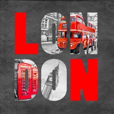 Plakat Londyn litery z obrazów na czarnym tle