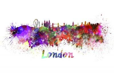 Plakat Londyn skyline w akwareli