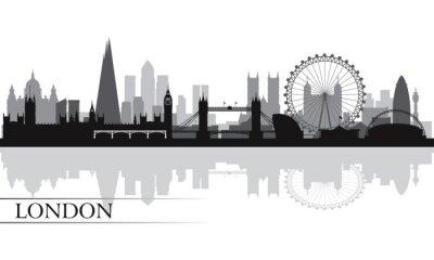 Plakat Londyn sylwetka w tle panoramę miasta