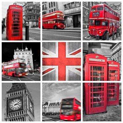 Plakat Londyn Zdjęcia kolaż, selektywny kolor