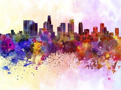 Plakat Los Angeles Skyline w akwarela