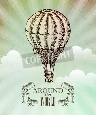 Plakat Lotniczo-przygodowa. Wektor vintage, ilustracja z balonu EPS 10