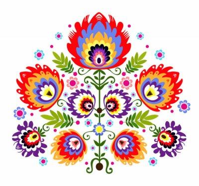 Plakat ludowy Wzór - kwiaty