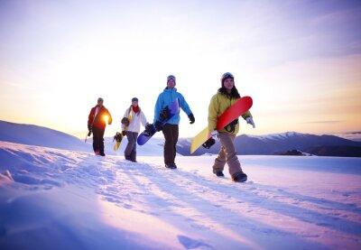 Plakat Ludzie na ich sposób na śniegu Boarding