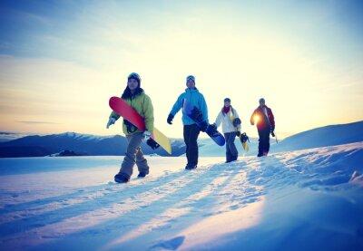 Plakat Ludzie Snowboard zimowe Przyjaźń Concept