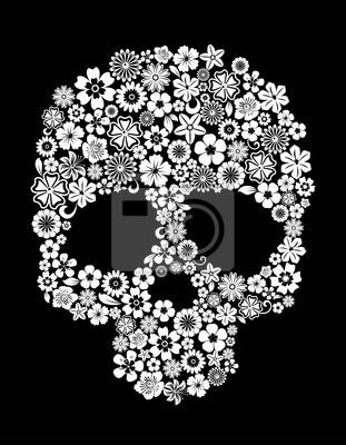 Ludzka czaszka w stylu kwiatu