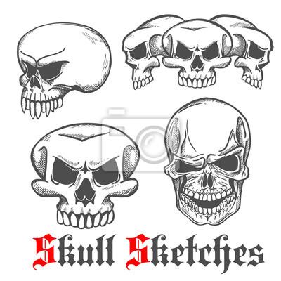 Ludzkie czaszki i szkice monster cranium