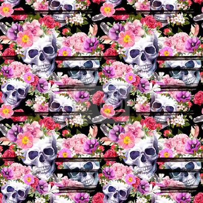 Plakat Ludzkie czaszki, jasne kwiaty. Bezszwowy wzór z czarnymi paskami. Akwarela
