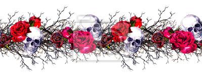 Plakat Ludzkie czaszki z różanymi kwiatami, gałęziami. Bez szwu obramowania ramki. Akwarela