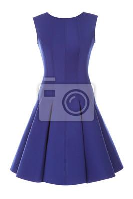 Plakat Ma? A niebieska sukienka z rhinestones wyizolowanych na bia? Ym tle