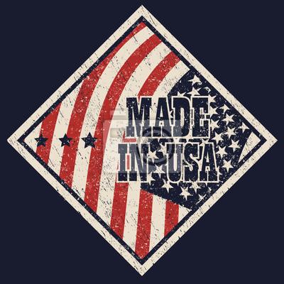 Made in USA podrapał podpisać ilustracji wektorowych, eps10