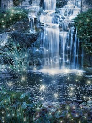 Plakat Magia nocy sceny wodospad