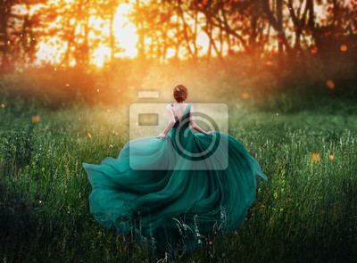 Plakat magical picture, girl with red hair runs into dark mysterious forest, lady in long elegant royal expensive emerald green turquoise dress with flying train, amazing transformation during fiery sunset