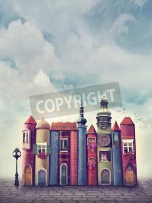 Plakat Magiczne miasto ze starymi książkami