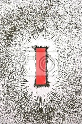 Plakat Magnes Z Opiłkami Pokazano Wzór Pola Magnetycznego