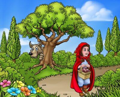 Plakat Mała czerwona kreskówka kapturek