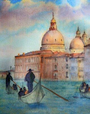 Plakat Malowanie Wenecja, malował akwarelą