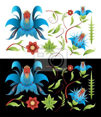 Malowanie Zestaw elementów kwiatów i liści