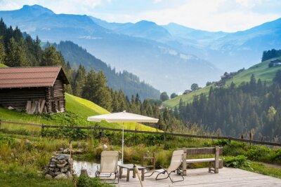 Plakat Malownicze relaksujące punkt na relaks w Alpach