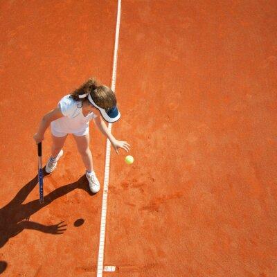 Plakat Mały mistrz tenisa przygotowanie służyć