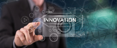 Plakat Man touching an innovation concept