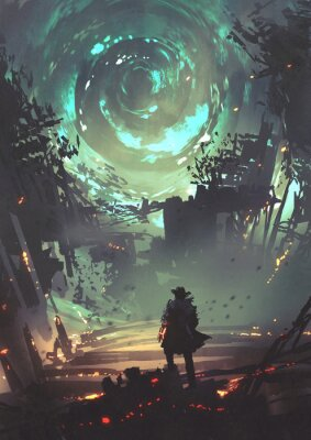Plakat man with futuristic arm looking at glowing spiral wind over the ruined city, digital art style, illustration painting