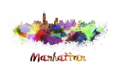 Plakat Manhattan w akwarela