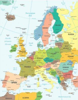 Plakat Mapa Europy - bardzo szczegółowe ilustracji wektorowych.