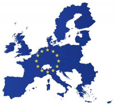 Plakat Mapa Europy z flagą unii