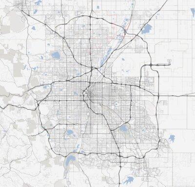 Plakat Mapa miasta Denver. Drogi w Colorado