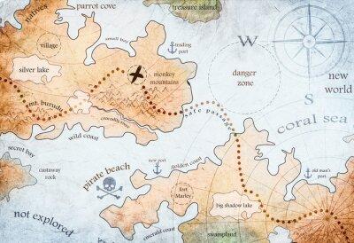 Plakat mapa pirackiej wyspy skarbów